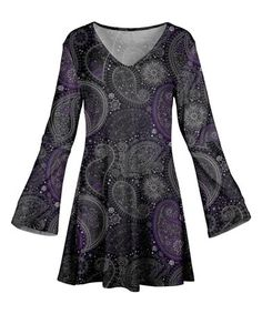 Look what I found on #zulily! Gray & Purple Paisley Bell-Sleeve Tunic - Women #zulilyfinds