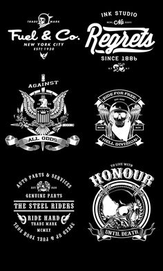 Praise label - T shirts III by Carmelaine Antonio, via Behance Logos, Logo Branding, Jorge Peralta, Old School Design, American Logo, Eagle Art, Badge Design, Vintage Labels, Vintage Design