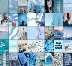 Blue aesthetic wall collage kit   Etsy