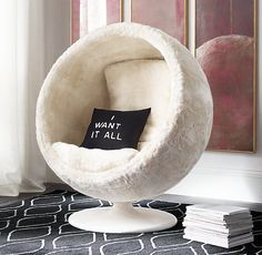 Plush, low-to-the ground lounger. Project a playful interplanetary vibe.