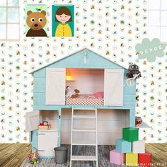 cool bed for kids with kitchen