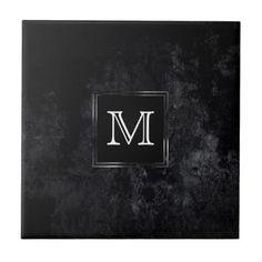 Onyx Kitchen   Monogram Black Velvet Matte Classic Ceramic Tile - initial gift idea style unique special diy