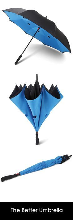 The Better Umbrella - Hammacher Schlemmer - This is the patented umbrella with an inverted design that enables one to fold it inwards—trapping residual rain drops inside its double-layer water-repellant canopy. Unlike a standard out-folding umbrella, this model's unique construction enables one to open it through a slightly ajar car door or nearly shut doorway, providing extra protection from precipitation when exiting or entering a home or vehicle.