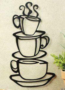 Amazon.com - COFFEE house cup java SILHOUETTE wall art metal mug NU - Wall Decorations For Living Room $9