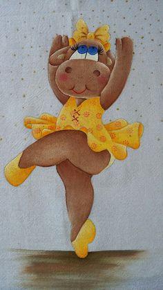Vaquinha bailarina, pintura em tecido   !!!