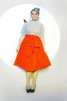 JIBRI Plus Size High Waist Flare Skirt attached by jibrionline, $120.00    Must have my mama make me one lol or buy this