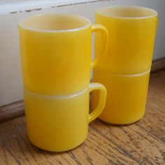 Four 4 Vintage Fire King BRIGHT yellow coffee by ChippedGREENchair, $16.00