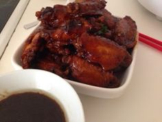 This is an easy to prepare lightly sweetened soya sauce chicken mid wings recipe prepared using the Philips Avance rice cooker. The meat cam. Soya Sauce Chicken, Twice Cooked Pork, Roasted Meat, Wing Recipes, Rice Cooker, Garlic, Wings, Chinese, Beef