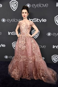 2017 - Lily Collins wearing Zuhair Murad Couture. Image Source: Getty / Frazer Harrison