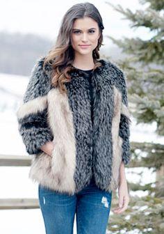 Black & Beige Fox Faux Fur Jacket
