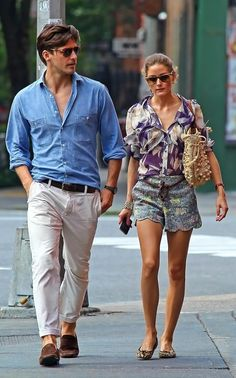 Johannes Huebl and Olivia Palermo. These 2 have great style. Style Olivia Palermo, Olivia Palermo Lookbook, Johannes Huebl, Outfit Elegantes, Stylish Couple, Fashion Couple, Denim Shirt, Nice Dresses, Style Me