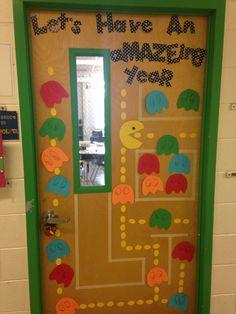 Welcome Back! Elementary school 2014 PAC man door decoration