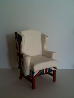 1:12 Dollhouse Miniature Union Jack Fabric Wing Back Armchair