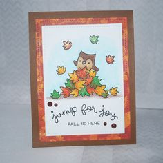 Lawn Fawn's new stamp set -Jump for Joy is a great set. Lots of cute images. I used Copic markers and lots of wink of Stella on the leaves .