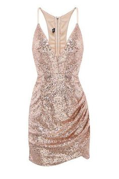 Rose gold sequin dress by allyson Rose Gold Sequin Dress, Sequin Mini Dress, Cutout Dress, Pink Dress, Bodycon Cocktail Dress, V Neck Cocktail Dress, Bodycon Dress, Rose Gold Cocktail Dress, Cocktail Dresses