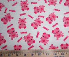 FREE SHIPPING Piggy Oink FLANNEL 1/2 yard  Fabric x 40 by rspomm, $8.50