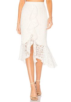 Alexis Marcello Skirt in Off White Lace   REVOLVE