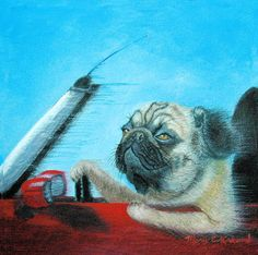 This Pug is self-assured and determined in her speedy Mini Cooper convertible. A favorite illustration at Painterly Treasures, she has been portrayed on note cards and T-Shirts. Now this 6 x 6 Qoro Replica Giclee on Canvas can fit in a cozy corner on your wall. Signed, limited edition tops at 45. Delivered unframed and rolled in a sturdy shipping tube. Made in the U.S.A.
