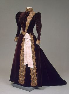 1890s velvet, silk, and metal thread, moire ribbon, and embroidered dress of Empress Maria Feodorovna by Charles Frederick Worth's Firm (Paris, France).