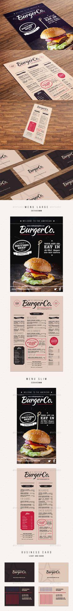 American Burger Menu Template #design Buy Now: http://graphicriver.net/item/american-burger-menu/12795042?ref=ksioks