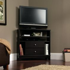 Corner TV Stand With Louvered Doors - White (52) - Walker Edison ...