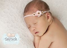 The Emma...three tiny delicate pink roses on skinny stretch headband...baby  headband...baby girl headband...flower headband on Etsy d02c7c787ce
