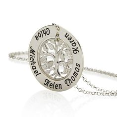 A Round Sterling Silver Family Tree Necklace Pendant Personalized Up to 5 Names #Unbranded #Pendant