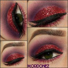 Glitter Cut Crease - #glitter #cutcrease #redglitter #eyemakeup #makeup #eyes #worldofcolor - bellashoot.com