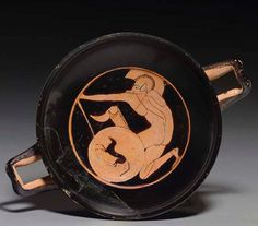 AN ATTIC RED-FIGURED KYLIX ATTRIBUTED TO THE PITHOS PAINTER, CIRCA 490 B.C. Ancient Greek Art, Ancient Rome, Ancient Greece, Greco Persian Wars, Classical Greece, Museum Studies, Greek Pottery, Minoan, Historical Art