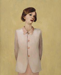 """Femme à la veste coûteuse"", 1991, huile, John Curin➕Artist John Currin➕More Pins Like This One At FOSTERGINGER @ Pinterest ➕"