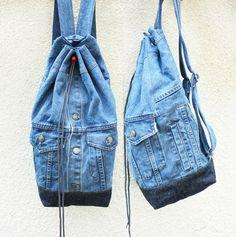 denim backpack upcycled denim jacket jeans bag drawstring bucket bag 80s 90s grunge boho backpack eco recycled repurposed vegan backpack by UpcycledDenimShop on Etsy https://www.etsy.com/listing/293916365/denim-backpack-upcycled-denim-jacket