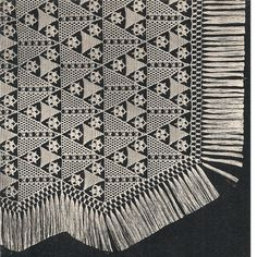 Triangle Fringed Crocheted Bedspread Pattern, No 804, Vintage 1930s.   An interesting piece made up of triangular shaped blocks in three different sizes, with three motifs. It takes 17 and 18 large triangles in alternate rows for 26 rows -- 455 large triangles, 453 small triangles and 1, 249 flowers. Although this is a fair amount of work, each of the blocks are quite easy to complete.