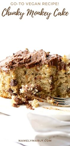 Are you ready for the most moist, delicious and EASY cake? This vegan chunky monkey cake is smothered with a chocolate frosting. Enjoy a banana   peanut butter-infused cake with chocolate chips and chocolate frosting. It's perfect any day of the week!   #namelymarly #chunkymonkey #vegancake #peanutbuttercake #bananacake Best Vegan Desserts, Cheesecake Desserts, Vegan Dessert Recipes, Köstliche Desserts, Vegan Treats, Delicious Desserts, Cake Recipes, Vegetarian Recipes, Chocolate Recipes