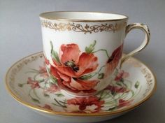 STUNNING 19TH CENTURY BERLIN HAND PAINTED PORCELAIN CUP AND SAUCER