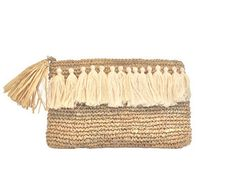 Straw evening Clutch Raffia Purse Beach Purse Leather by MOOSSHOP