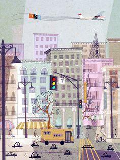 Illustration for NPR 2012 Calendar by Josie Portillo Art And Illustration, Building Illustration, Graphic Design Illustration, Illustrations Posters, American Illustration, Bg Design, Mail Art, Illustrators, Concept Art