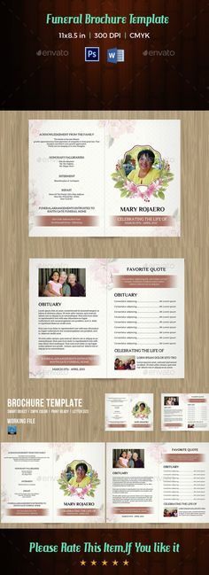 Memories Funeral Program Template  Brochures Brochure Template