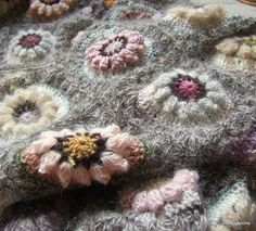 crochet flowers blanket afghan throw shawl