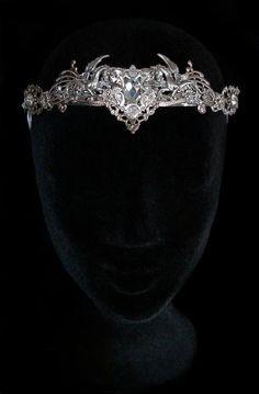 Couronne Cristal Pégase Tiare Diadème Médiéval Renaissance Cheval Ailé Mythologie Reine Mariage Elfique féerique