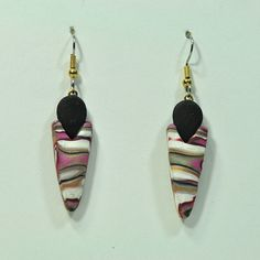 Handmade Polymer Clay Faux Striped Stone Dangle by jangeisen
