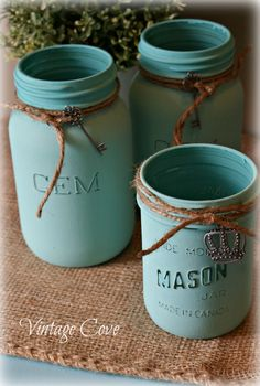 Turquoise painted jars ~ by Vintage Cove.