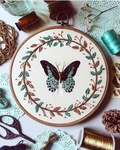 Wonderful Ribbon Embroidery Flowers by Hand Ideas. Enchanting Ribbon Embroidery Flowers by Hand Ideas. Butterfly Embroidery, Hand Embroidery Patterns, Embroidery Kits, Ribbon Embroidery, Cross Stitch Embroidery, Needlework, Creations, Crochet, Sewing