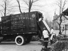 London, Midland & Scottish Railway lorry delivering furniture to a house in Radlett, Hertfordshire, England, Railway companies offered a door-to-door furniture removal service. Vintage Trucks, Old Trucks, Vintage Ads, Furniture Removal, Door Furniture, Removal Services, Greater London, Old Ads, The Good Old Days