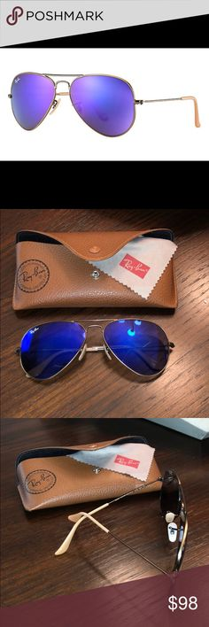 Ray-ban Aviator Flash Sunglasses Worn only a few times, great condition!! FRAME & LENSES Frame material: Metal Frame color: Bronze-CopperLenses: Violet Mirror Shape: Pilot Size Lens-Bridge: 58 14 Temple Length: 135 Ray-Ban Accessories Sunglasses
