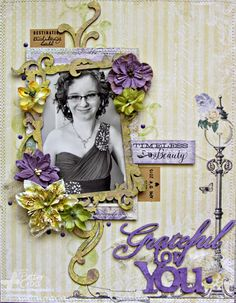 8 1/2 x 11 layout by Patter Cross using the new Blue Fern Studios Déjà Vu papers and stamps.