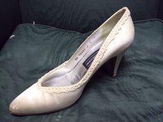 Stuart Weitzman satin and lace wedding shoes