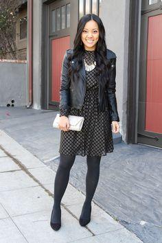 f1edb4ea2612e Black and Gold dress + Moto Jacket + Gold Clutch + tights + Black pumps  Black