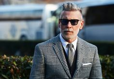 Nickelson Wooster street style; grey glen plaid sport coat on navy cardigan on grey herringbone tie on white button-down