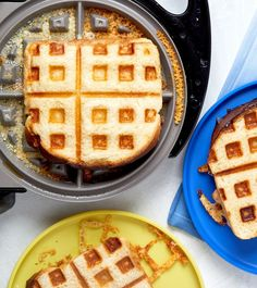 Ashley Klinger & Co. - Lucy Schaeffer / Food I How To Make Waffles, Grilled Cheese Recipes, American Cheese, Waffle Iron, Delish, Main Dishes, Uber, Grilling, Sandwiches