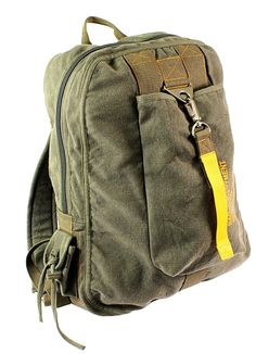 VINTAGE CANVAS FLIGHT BAGS - Brown, Olive Drab, Black Soft, Washed Cotton Canvas Large Main Compartment w/ Inside Zippered Pocket Small Side Pocket w/ Hook & Loop Closure Front Pocket w/ Metal Clasp C
